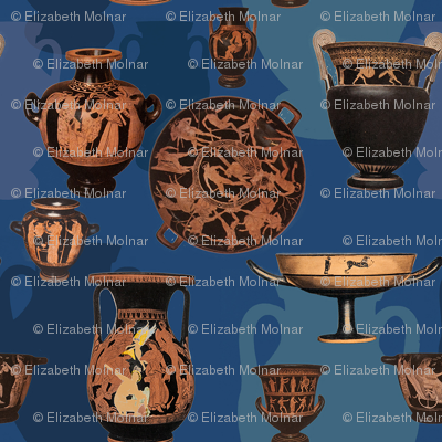 Greek Ceramics on Blue