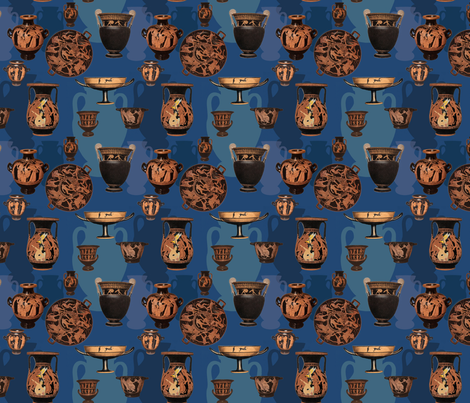 Greek Ceramics on Blue  fabric by ej_molnar on Spoonflower - custom fabric