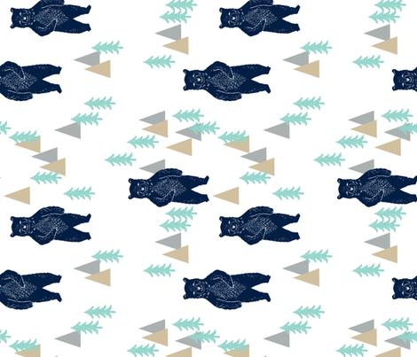 forest bear // khaki mint navy blue boys nursery forest woodland camping - railroad fabric by andrea_lauren on Spoonflower - custom fabric
