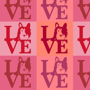 Sheltie Collie Dog Love Pink Red