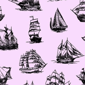 Sailing Ships on Pink // Large