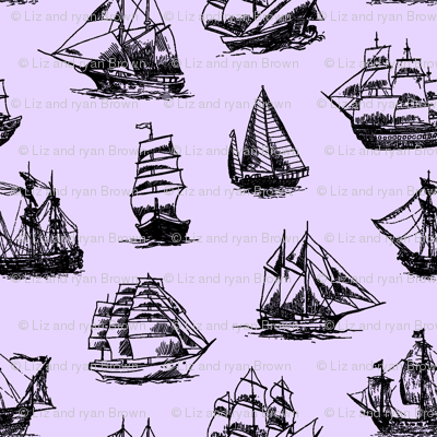 Sailing Ships on Lavender // Large