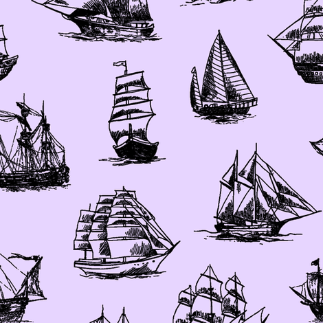 Sailing Ships on Lavender // Large fabric by thinlinetextiles on Spoonflower - custom fabric