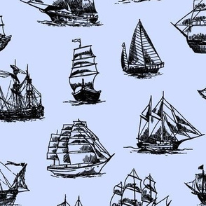 Sailing Ships on Blue // Large