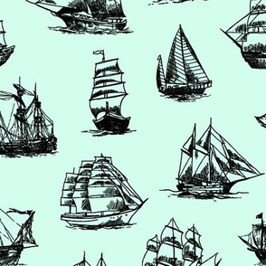 Sailing Ships on Light Green // Large