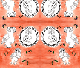 Classy Classical Owls fabric by painter_poyet on Spoonflower - custom fabric