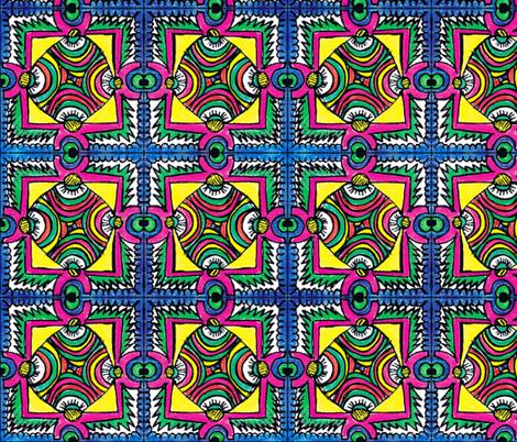 Blue Border Tile fabric by monsteradeliciosamia on Spoonflower - custom fabric