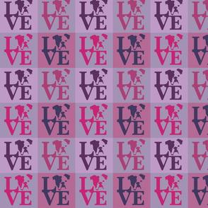 Bulldog Dog Love Pink Violet
