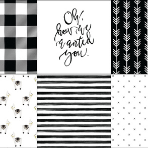 6 loveys: black buffalo check, oh how we wanted you, black arrow stripes, llamas, black gouache stripes, black x
