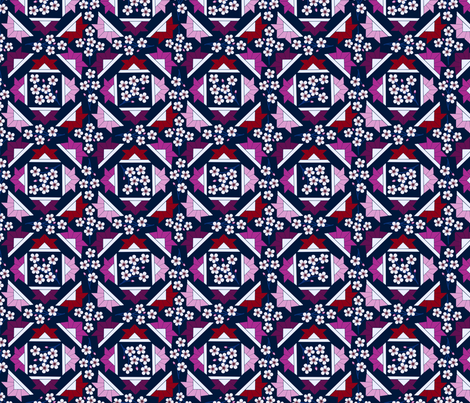 Origami with Cherry Blossoms fabric by willowbirdstudio on Spoonflower - custom fabric