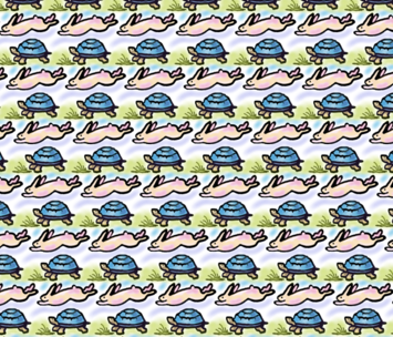 Pink Hare Blue Tortoise fabric by grrr8dgz on Spoonflower - custom fabric