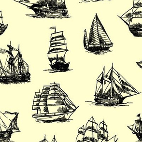 Sailing Ships on Yellow // Large