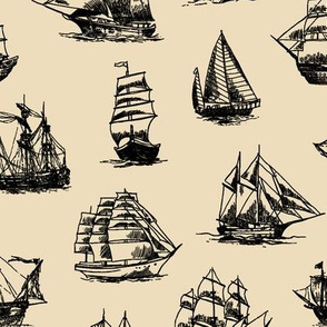 Sailing Ships on Tan // Large