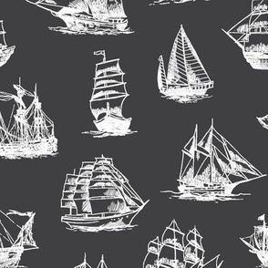 Sailing Ships on Charcoal // Large