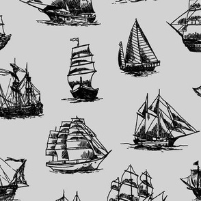 Sailing Ships on Grey // Large