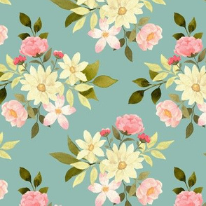 Etta floral on blue
