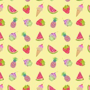 Fruit ice cream cupcake on yellow