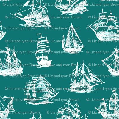 Sailing Ships on Teal // Large