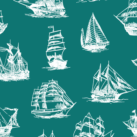 Sailing Ships on Teal // Large fabric by thinlinetextiles on Spoonflower - custom fabric