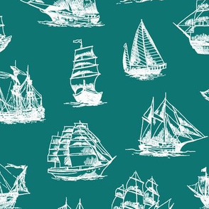 Sailing Ships on Teal // Large