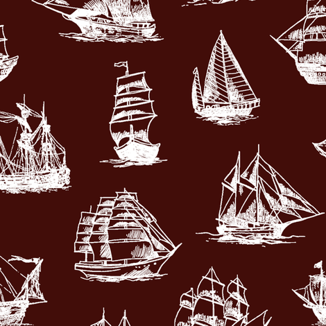 Sailing Ships on Mahogany // Large fabric by thinlinetextiles on Spoonflower - custom fabric