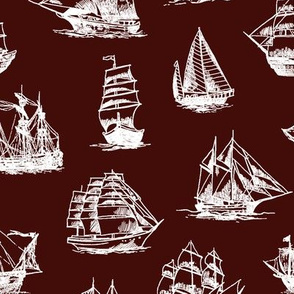 Sailing Ships on Mahogany // Large