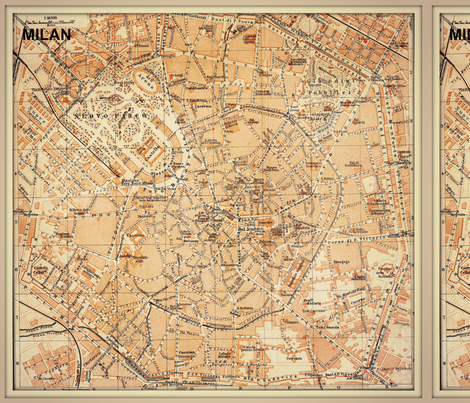 Milan map Italy FQ fabric svester Spoonflower