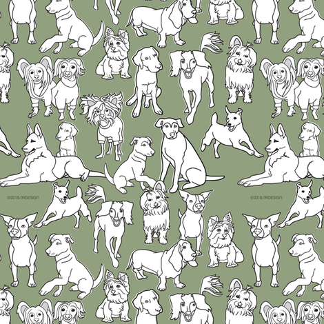 Family Dogs on Green fabric by kclud39 on Spoonflower - custom fabric