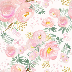 Pretty floral pink and gold LARGE scale, wallpaper, floral decor