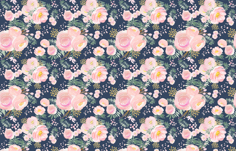 Navy floral pink and gold, LARGE scale, watercolour floral, wall paper, decor,  fabric by lub_by_lamb on Spoonflower - custom fabric