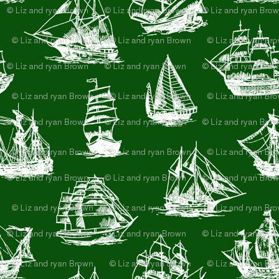 Sailing Ships on Green // Large