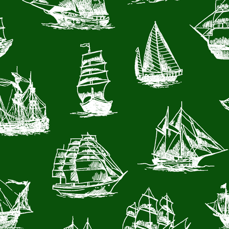 Sailing Ships on Green // Large fabric by thinlinetextiles on Spoonflower - custom fabric