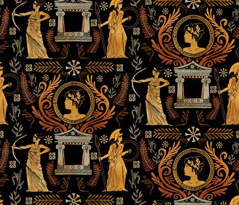 Golden Greek Goddess Trio fabric by roguerens on Spoonflower - custom fabric