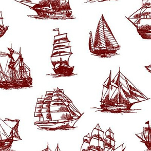 Burgundy Sailing Ships // Large
