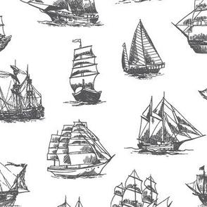 Grey Sailing Ships // Large