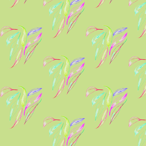 Leafy Sweethearts on Cool Spring Green fabric by rhondadesigns on Spoonflower - custom fabric