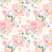 Pretty floral pink and gold Blooms, SMALL scale