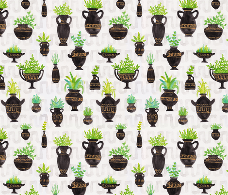 Greek Vase Greenery fabric by bexdsgn on Spoonflower - custom fabric