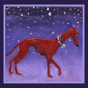 Night Hound SmallOil-framed