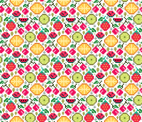 fruits - Pixilart fabric by y_me_it's_me on Spoonflower - custom fabric
