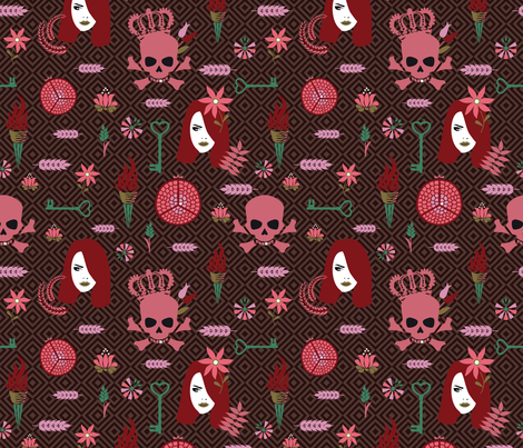 Hades and Persephone dark red fabric by colorofmagic on Spoonflower - custom fabric