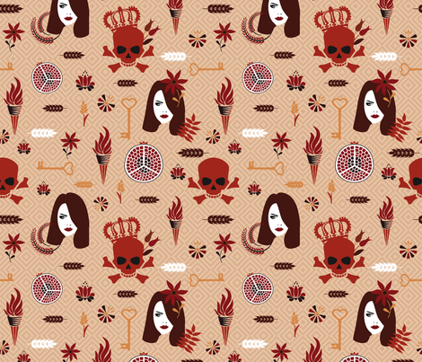 Hades and Persephone bright orange fabric by colorofmagic on Spoonflower - custom fabric