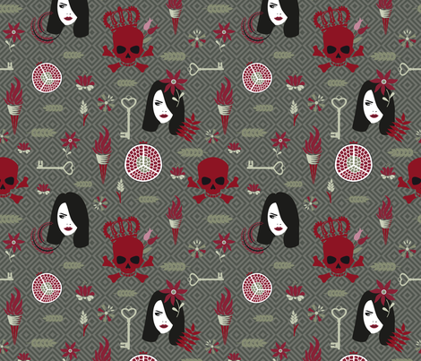 Hades and Persephone olive fabric by colorofmagic on Spoonflower - custom fabric