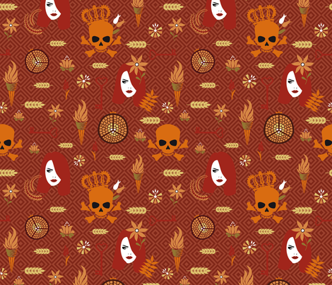 Hades and Persephone rust fabric by colorofmagic on Spoonflower - custom fabric