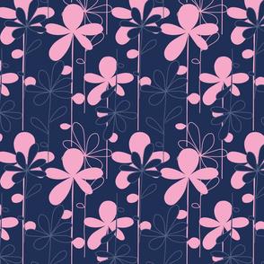 HANAKO pink flowers on dark blue background