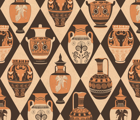 Pottery of ancient Greece fabric by geetanjali on Spoonflower - custom fabric