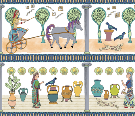 Working Greek Goddesses, Large fabric by palifino on Spoonflower - custom fabric