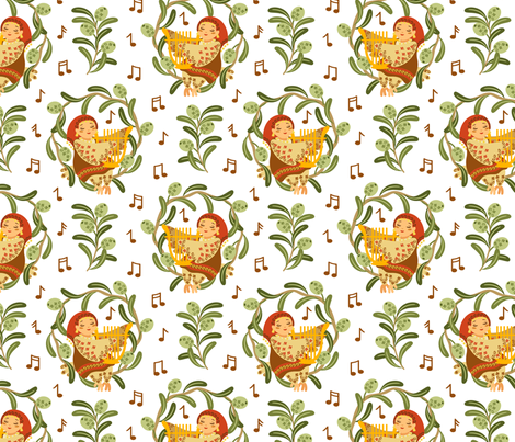CY. Greek art challenge. Siren playing a lyre fabric by cotsy_yard on Spoonflower - custom fabric