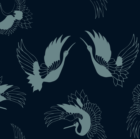 flying cranes - blue on navy fabric by gemmacosgroveball on Spoonflower - custom fabric