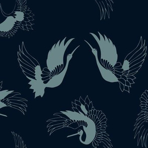 flying cranes - blue on navy